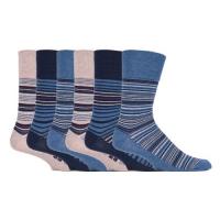 Blå og beige stribede strømper til mænd fra en kvalitetssokkeleverandør.
