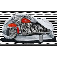 Midlertidig bilgarage, der beskytter en motorcykel.