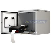 blødt stål printer kabinet foran døren åben med label printer på pull ud trayi
