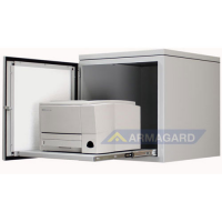 printer blødt stål kabinet foran døren åben med laser printer på bakken