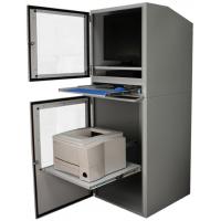 Industriel computer kabinet åbne døre og bakke