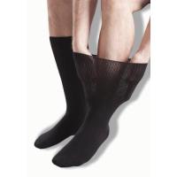 Extra breite, schwarze Ödemsocken für die Linderung geschwollener Beine.