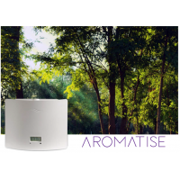 Aromatisieren Sie Duftmarketingmaschine auf einem Waldhintergrund.