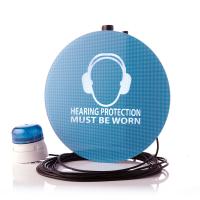 Geräuschaktiviertes Warnschild eines führenden Herstellers von Schallpegelmessern.