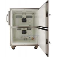 Seitenansicht des beheizten Druckergehäuses mit beiden geöffneten Türen