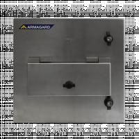 Vorderansicht des Reinraumdruckergehäuses mit vorderer Zugangsklappe.