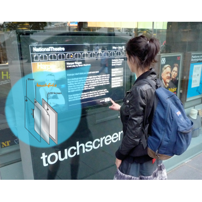 A custom size touch screen overlay in use in a window.