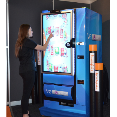 A touch screen vending machine made using a PCAP foil.