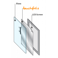 An assembly diagram for a 55 inch touch screen overlay display