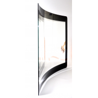 Touch sensitive film applied to curved glass
