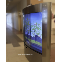 A curved touch screen using a 40 inch touch screen overlay