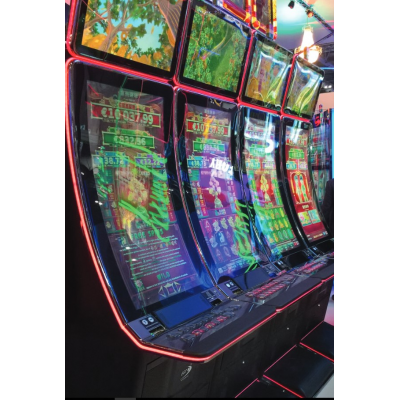 Curved gaming machines using PCAP touch screen glass
