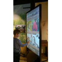 A boy using an interactive totem made with a 55 inch touch screen overlay