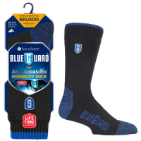 navy and black Blueguard workwear socks with one sock packaged and a pair in original packaging