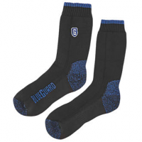 Blueguard steel toe boot socks unpackaged showing both sides of the sock