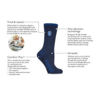 Steel toe boot socks with diagram of features and benefits