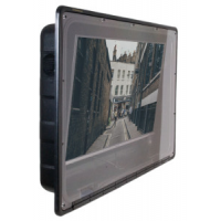 Waterproof outdoor TV enclosure. Side view