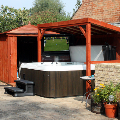 outdoor TV for pool area with waterproof enclosure