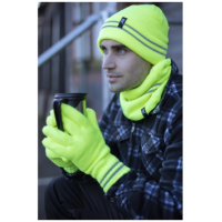 A man wearing high-visibility hat and gloves from HeatHolders, the leading thermal hat supplier.