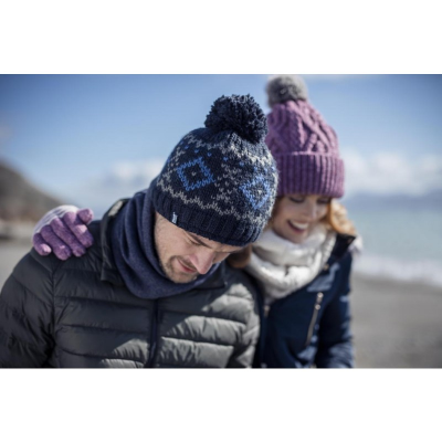 A man and woman wearing warm hats from a thermal hat supplier.