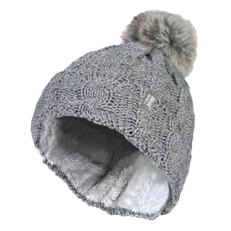 Heat Holders Boys Thermal Lined Pom Pom Winter Hat and Mittens with Ear Flaps