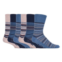 Blue and beige striped soft socks for men.
