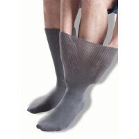 Extra-wide, grey oedema socks from GentleGrip.