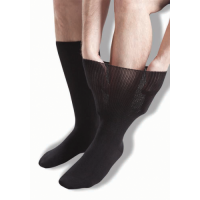 Extra-wide, black oedema socks for the relief of swollen legs.