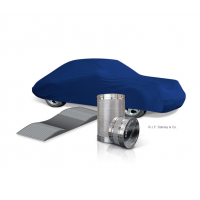 Indoor car cover set with desiccant cylinder and tyre shoes.