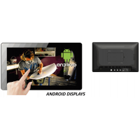 Touch screen Android display front and rear view.