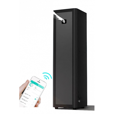 Hotel air freshener in colour black with Bluetooth app control.