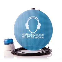 Noise-activated warning sign from a leading sound level meter manufacturer.