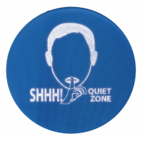 Noise-activated quiet zone hearing protection sign.