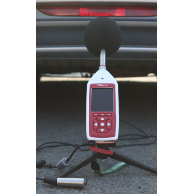 The Cirrus noise level meter measuring environmental noise.