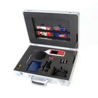 A sound level meter with frequency analysis in a kit case