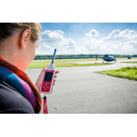 The cirrus basic decibel meter in use at an airport.