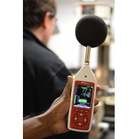workplace noise monitoring equipment in a factory