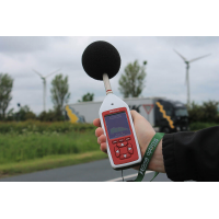 The Optimus green environmental and occupational noise measurement tool in use.