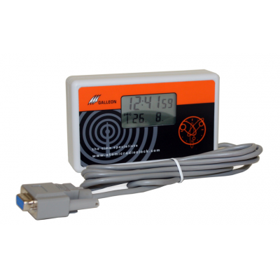Side view of radio controlled clock with serial cable