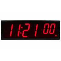 Inova six digit ethernet digital wall clock front view