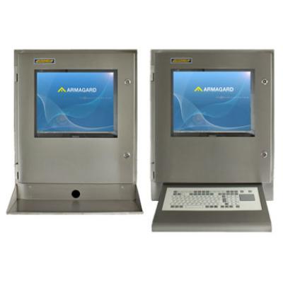 Waterproof computer enclosure with keyboard tray and wedge keyboard