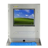 Waterproof computer enclosure with keyboard tray and keyboard