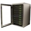 Waterproof rack mount cabinet open showing servers