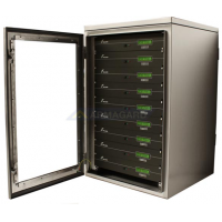Waterproof rack mount cabinet with door open showing servers