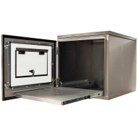 IP65 printer protection side view with door open and tray extended