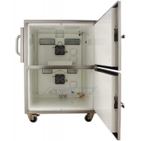 Heated printer enclosure side view with both doors open