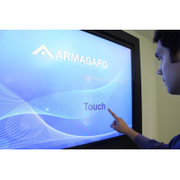 Digital signage touch screen being used