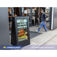 Outdoor digital A-frame signage in use outside a restaurant.