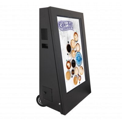 Mobile digital signage displays right-facing side view.