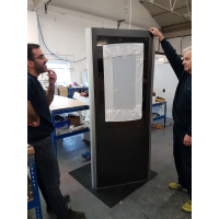 Retail totem in production at Armagard's digital totem manufacturer premises.
